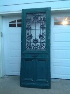 Beautiful Antique Large Wood -Cast Iron - glass door