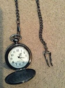 Mens Black Pocket Watch with Pocket Chain