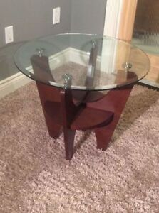 NEW HIGH END SYMPHONY ROUND GLASS TOP END TABLES - MODERN