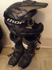 Motocross gear FXR helmet and Thor boots