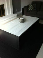 Wood & steel designer coffee table - table a cafe Timmy Hilfiger