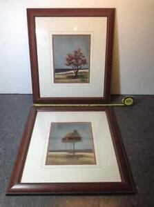 2 x double matted v-groove tree prints Cambridge Kitchener Area image 1