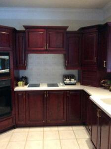 Armoires de cuisine acajou bois - mahogany wood kitchen cabinets