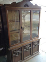 Beautiful antique style hutch  great shape with interior light