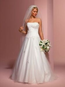 Romantic Ivory strapless wedding gown, appliqued tulle & satin