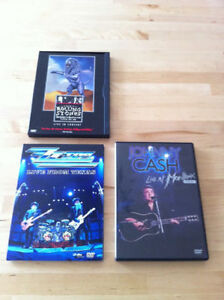 DVD Musique The Rolling Stones, Johnny Cash, ZZ Top - 2$ chaque