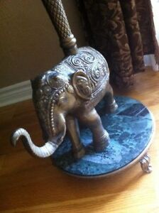 Antique Solid Brass Elephant Table