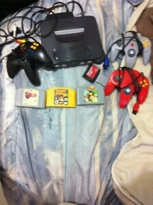 N64 with controllers expansion memory card zelda wwf turok etc