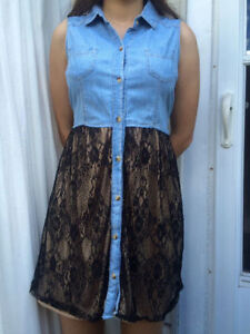 Jean and lace dress