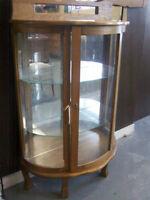 Oak Bowed Glass Curio Cabinet