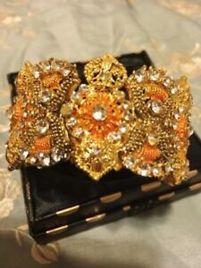 Elegant Gold Plated Bangle with Rhinestones - Brand New 2017
