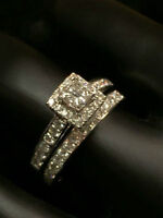 NEW !!! 1.00TCW 14K WHITE GOLD ENGAGEMENT RING & BAND!!!!