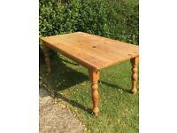 Large pine table and chairs