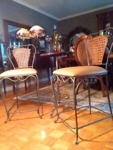 2 Antique Ostrich Leather & Rattan Bar Stools