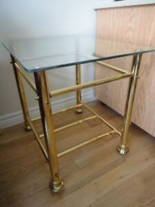 Two brass & glass side tables - moving