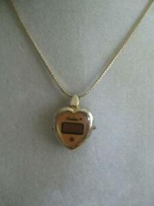 OLD VINTAGE [60s] HEART-SHAPED GOLD-TONE WATCH NECKLACE