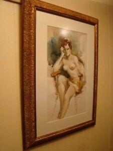 antique aquarelle toile  peintre canadien reconnu peinture