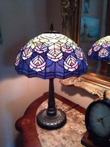 Antique Tiffany Peacock Stained Glass & Brass Lamp Stunning! .
