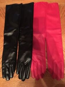 Red and black brand new pleather gloves