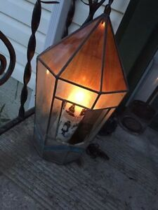 Vintage antique stained glass candle holder