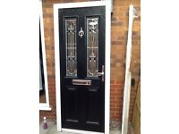 Front door black composite stained glass