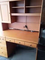 Large 2 piece wood cabinet with lights lots of drawers was $1400
