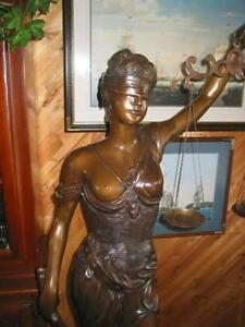 "Blind Lady of Justice ( Themis ) life size  bronze 68"" tall"