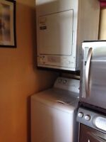 Stackable top load Moffat washer & GE dryer