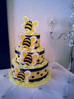 3 Tier Diaper Cake (size 2 Pampers diapers)**Calgary Royal Decor