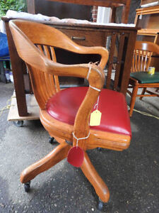 antique swivel office chair, new red leather, made by Krug