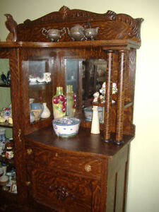 Antique tiger oak display cabinet plus other antiques!