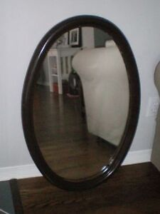 Vintage 1940s Wood Framed Oval Wall Mirror