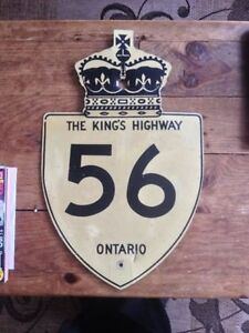 ORIGINAL VINTAGE CANADIAN 56 KINGS HIGHWAY ONTARIO ROAD SIGN