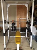 Body Solid Power Rack/Cage + Bench + Olympic Weights + Bar