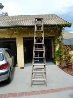 Vintage Timber Step Ladder - 3 metres