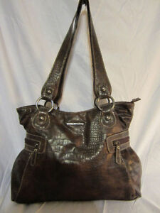 #48 The Stone Brown Alligator Design handbag/purse $25.00