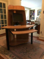 Computer desk corner unit.  Solid, stylish, professional.