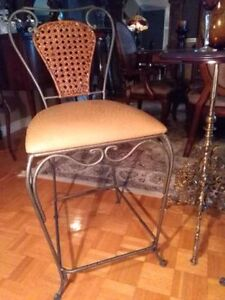 Antique Ostrich Leather & Rattan Bistro Chairs Stools