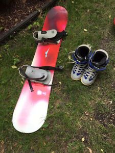 Snowboard, boots and the bindings