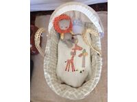 Mamas and Papas's Moses Basket (inc. a swing stand, white mattress protector X2 )