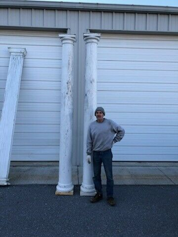 LARGE PAIR ANTIQUE & VINTAGE ARCHITECTURAL WHITE PAINT WOODEN COLUMNS POSTS