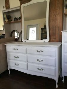 French provincial double chest dresser/mirror