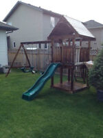 treated kids playhouse and slide swings ect350 firm