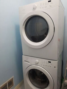 """Frigidaire 27"""" white stackable front load washer electric dryer"""
