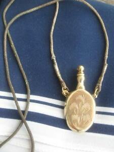 CHARMING OLD ANTIQUE SOLID BRASS ATOMIZER PENDANT NECKLACE