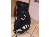 PING TOUR/ CART GOLF BAGS AND ASSORTED CLUBS