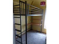 Childs Bunk Bed - Grey Steel Frame WITH DESK without mattress