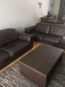 Living room set sofa+couch,brown leather,very clean,good shape.