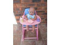 Branded 'Baby Born' Dolls High-Chair
