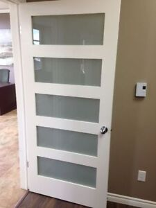 "32"" POCKET DOOR - 5 PANEL FROSTED GLASS"